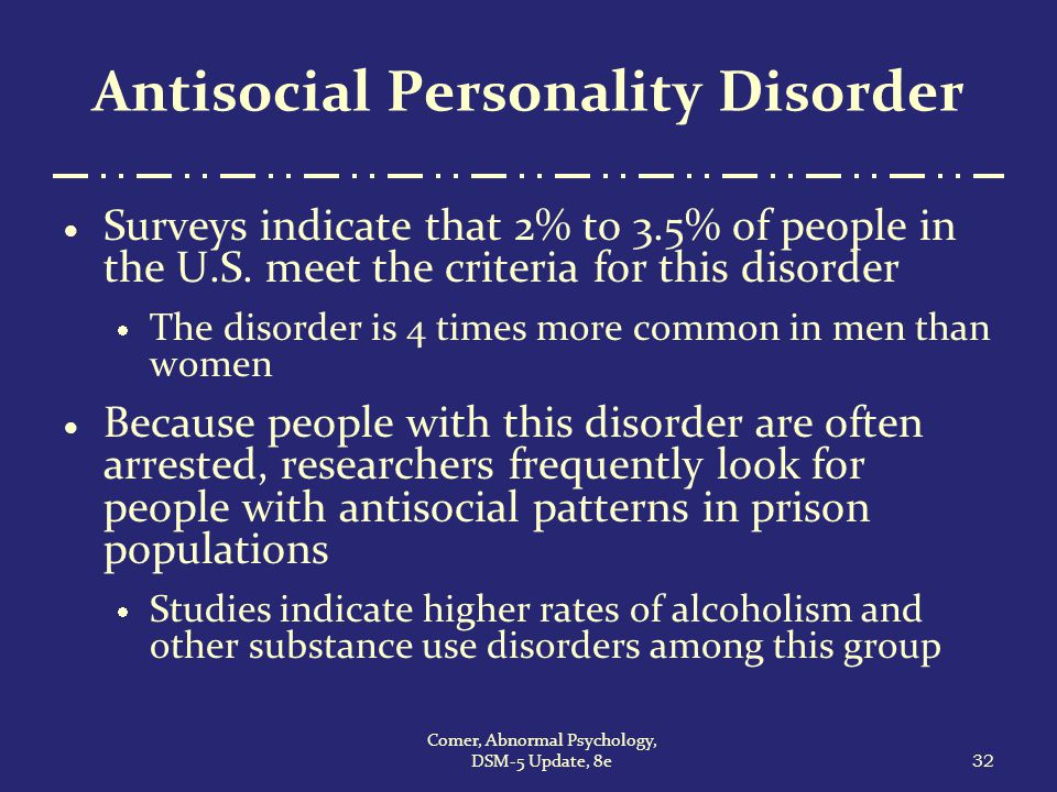 antisocial personality disorder 2 Personality disorders are part of the axis ii of the dsm and can be broken down  into  antisocial snapshot a 23-year-old male with an extensive criminal record .