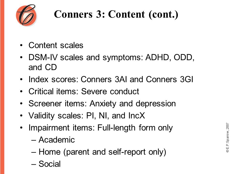 Using the Conners 3 and Conners CBRS: Identification and ...