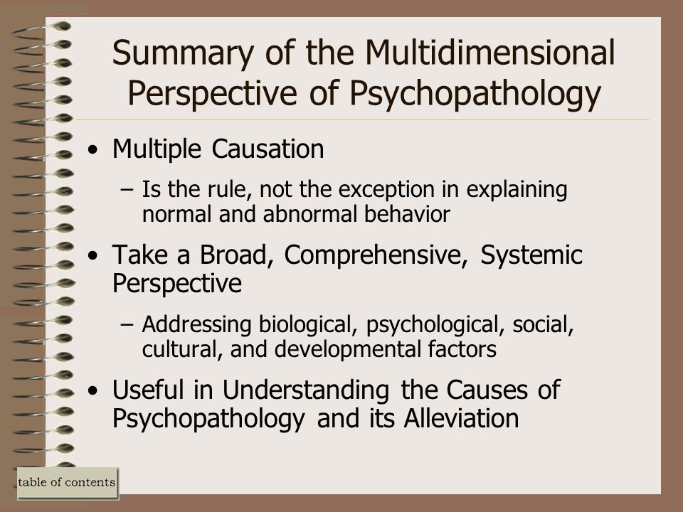 biological causal factors of abnormal behavior Abnormal psychology is the branch of psychology focused on abnormal behavior and abnormal psychology is the branch of psychology focused on abnormal behavior and psychopathology this approach to abnormal psychology focuses on the biological causes of mental illness.