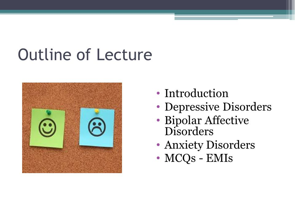 outline of bipolar Depression and mania can be divided into three different subcategories: bipolar 1 disorder, bipolar 2 disorder, and cylothymia (craighead and nemeroff, 2001, 212) this paper will discuss bipolar disorder as well as give a short history of the mental illness, the subcategories and the symptoms, as well as causes and treatments.