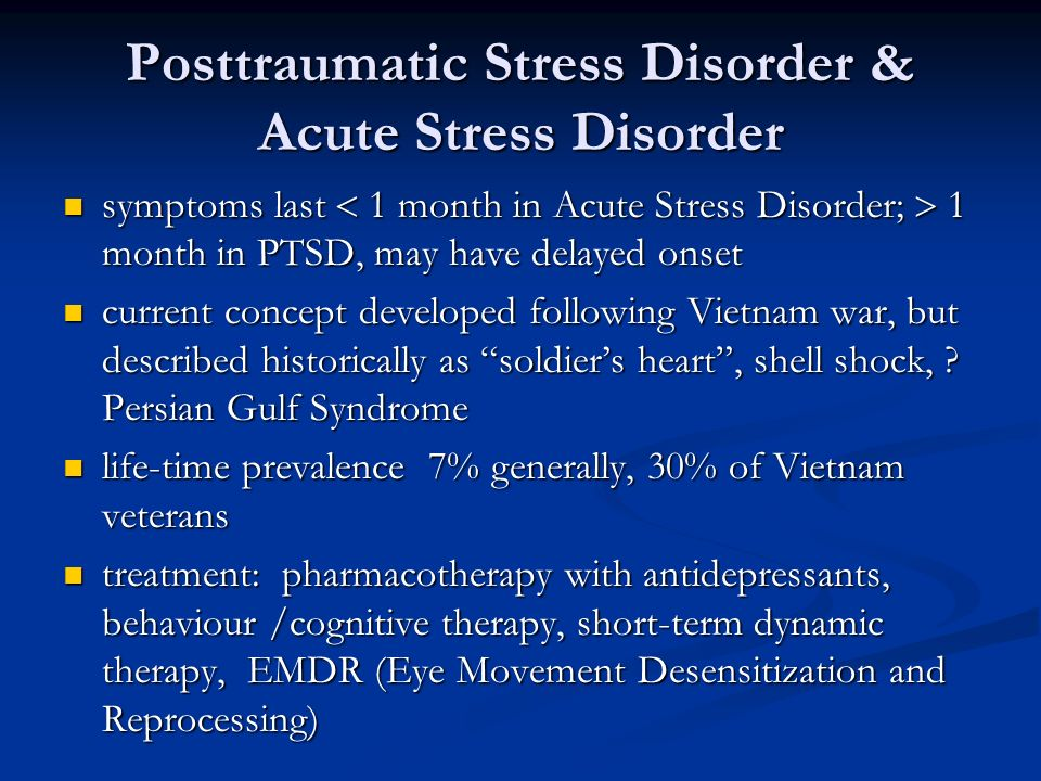 acute stress disorder Acute stress disorder was introduced in 1994 into the dsm-iv the general  current diagnostic standard for the psychiatric diagnosis are alike in many ways  to.