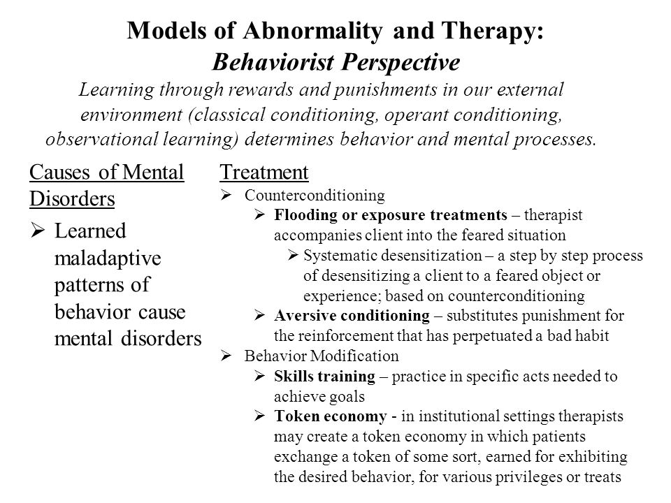 models of abnormality In this lecture presentation video (adapted from my introduction to psychology course lecture), i will cover the concept of models of abnormality including a.