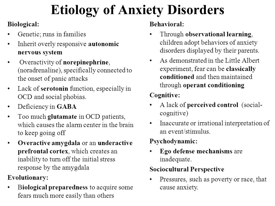 etiology of anxiety disorders essay Free essay: this paper is going to be about anxiety disorders  definition of  anxiety disorder, review of current and past treatments of anxiety disorders.