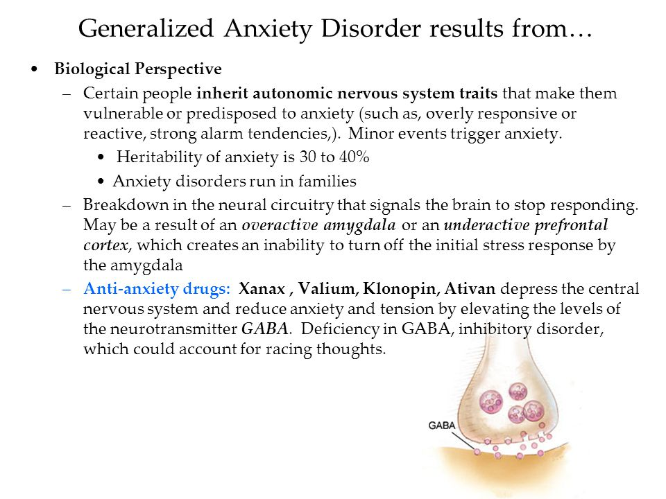 generalized anxiety Table 1 table 1 diagnostic criteria for generalized anxiety disorder patients with generalized anxiety disorder often have physical symptoms, and it may be difficult to distinguish the symptoms from those of medical illnesses that are associated with anxiety 15 factors suggesting that anxiety is.