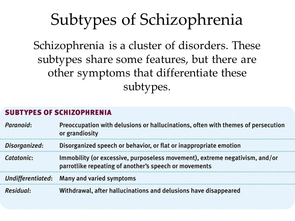 different subtypes of schizophrenia essay Subtypes of schizophrenia paranoid type people with paranoid type of schizophrenia suffered from delusions and hallucinations (mostly auditory), but they can speak logically and give appropriate emotional responses since their cognitive skills and affect are intact these patients may have delusions and hallucinations characterized by themes of.