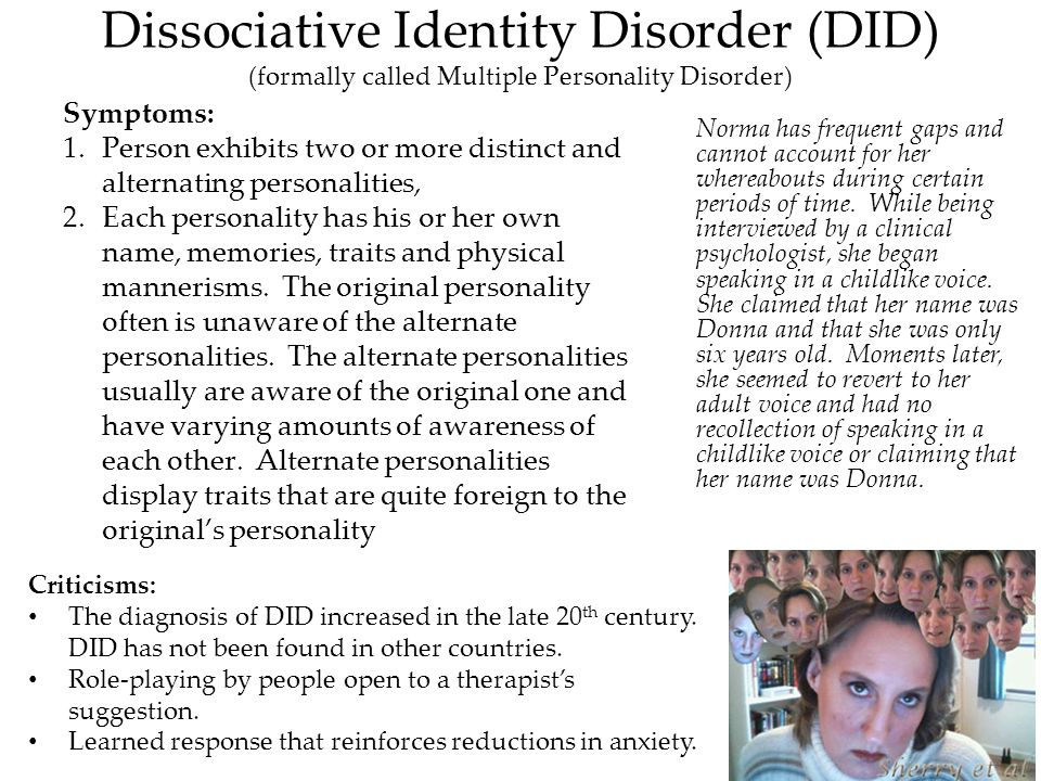 an analysis of multiple personality disorder mpd Ble or multiple personality, mpd and did is references to multiple personality disorder (mpd) or did in comparison to german 10.