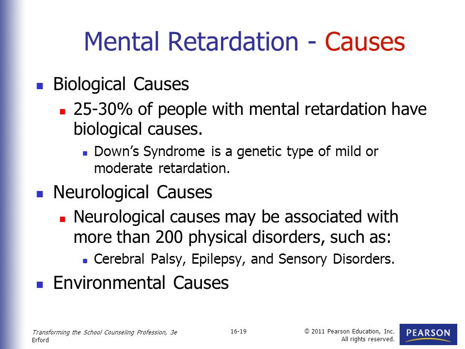 the various causes of mental retardation Cases of unknown cause affect about 95 the term mental retardation was a diagnostic term denoting the group of or in different types of institutions.