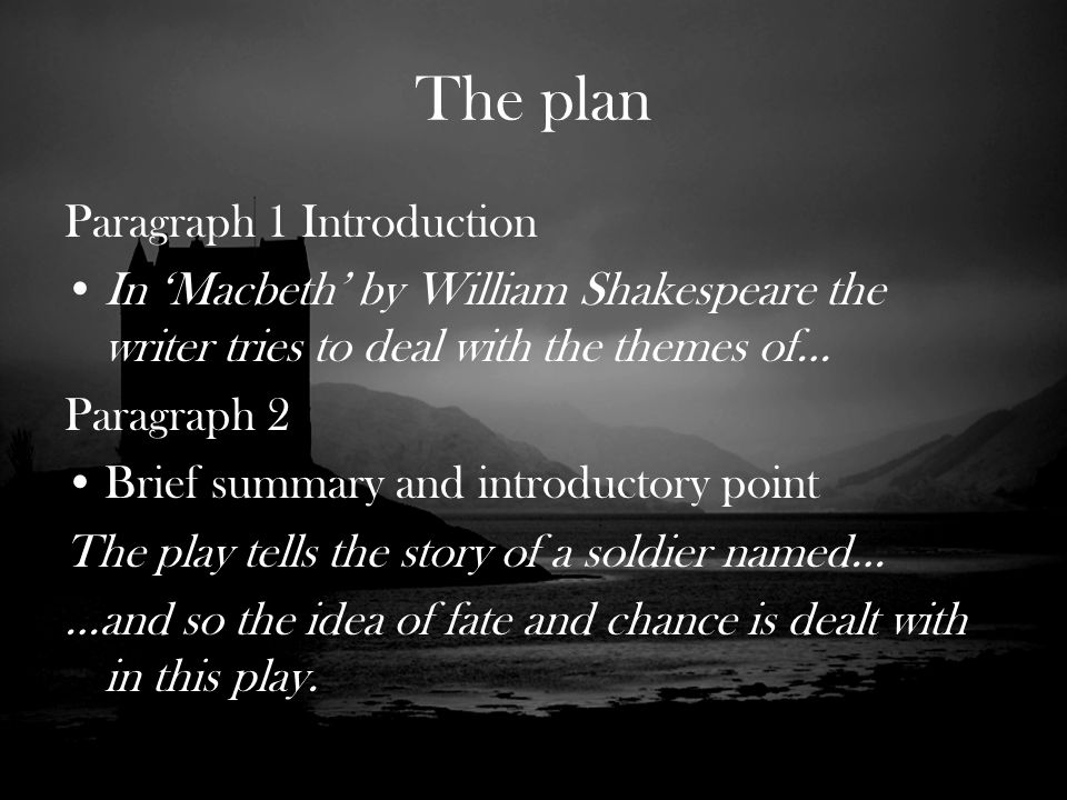 introductory paragraph macbeth essay Macbeth was written by shakespeare between 1603 and 1606, between caesar  and hamlet it is the story of a murderer and usurper, like richard iii or claudius.