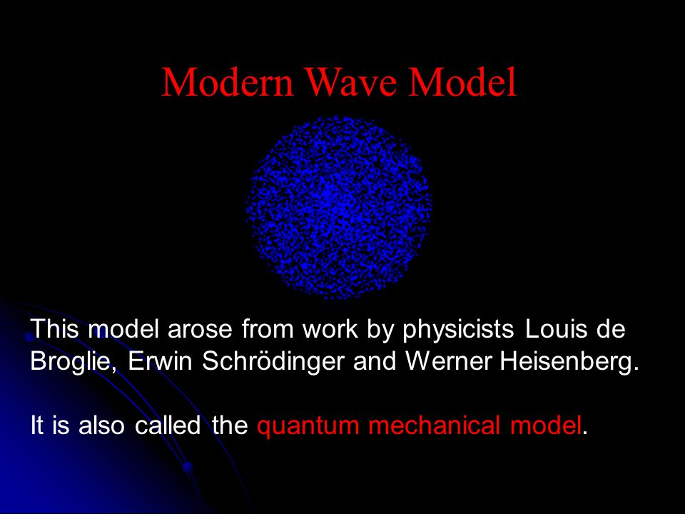 Modern Wave Model This model arose from work by physicists Louis de Broglie, Erwin Schrödinger and Werner Heisenberg.