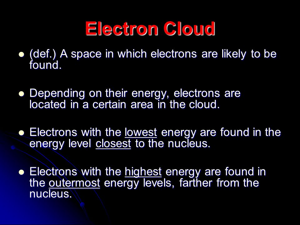 Electron Cloud (def.) A space in which electrons are likely to be found.