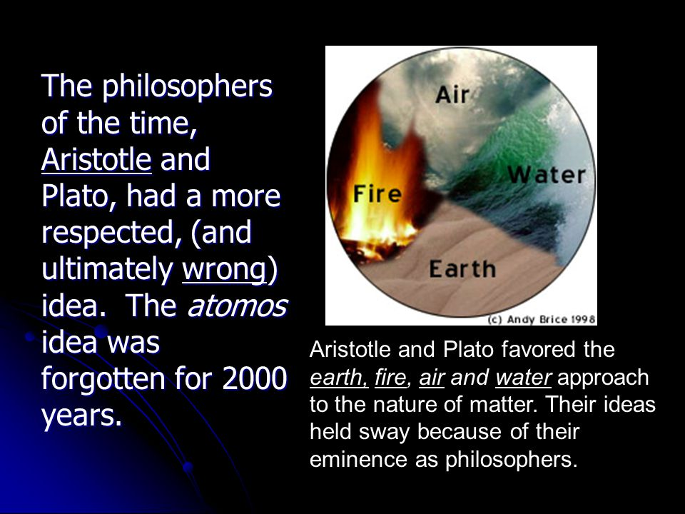 The philosophers of the time, Aristotle and Plato, had a more respected, (and ultimately wrong) idea. The atomos idea was forgotten for 2000 years.