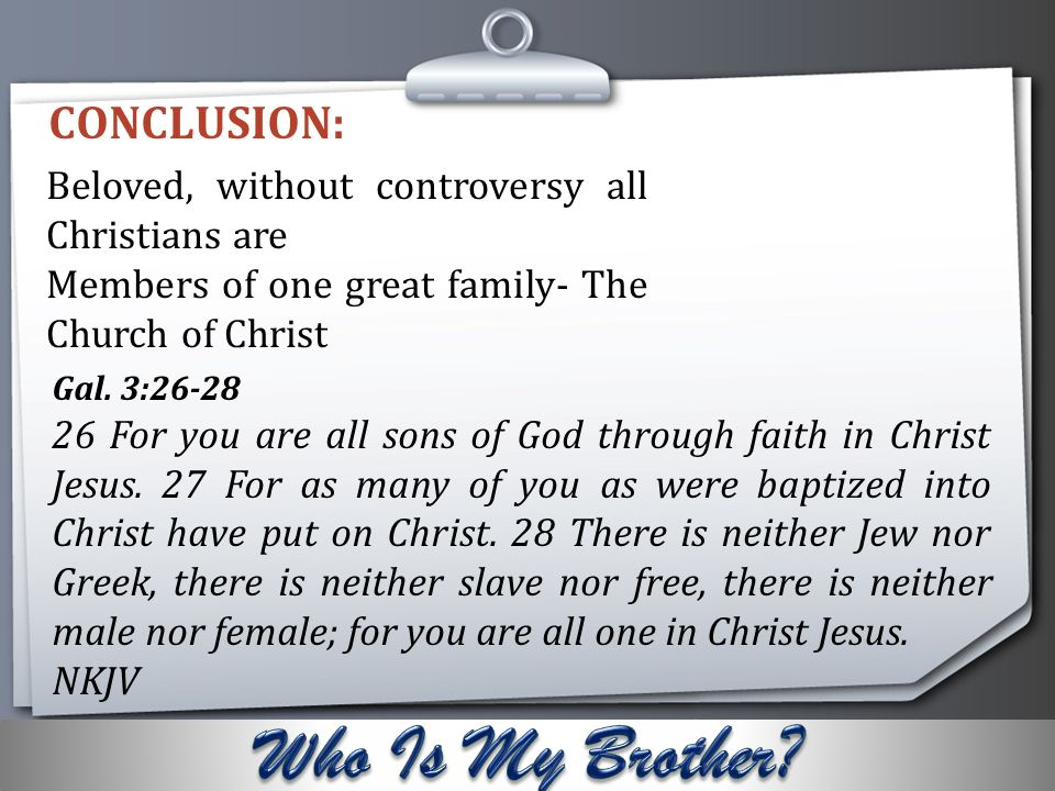WHO IS MY BROTHER? PRESENTED BY BRO. SUNDAY EYANRIN ...