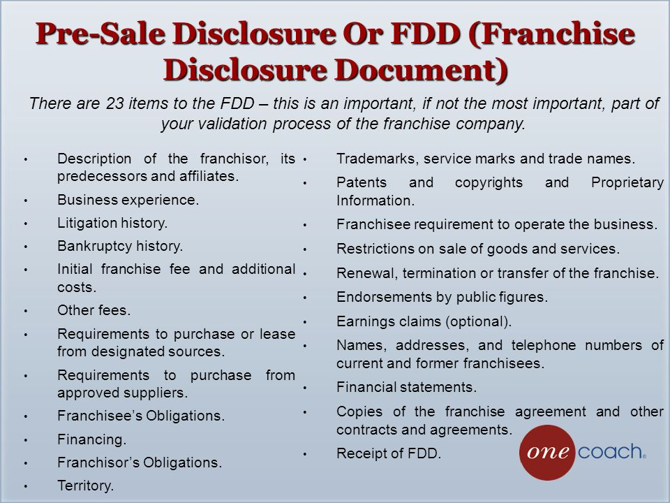 Pre Sale Disclosure Or FDD (Franchise Disclosure Document)