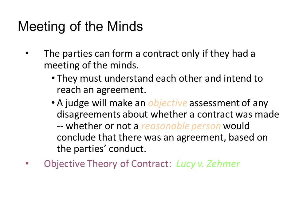 objective theory of contracts Objective theory of contracts in 1999, a seattle man took a popular soft-drink company seriously when one of its commercials made an offer of a harrier jet, the famous high-tech jump jet used by the us marines in a television commercial that aired in 1995, the company jokingly included the harrier as one of the [.