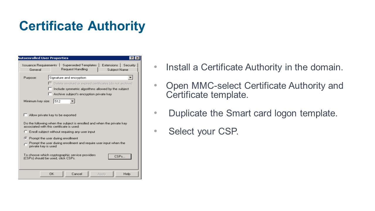 Smart card single sign on with access gateway enterprise edition duplicate the smart card logon template select your csp certificate authority yadclub Images