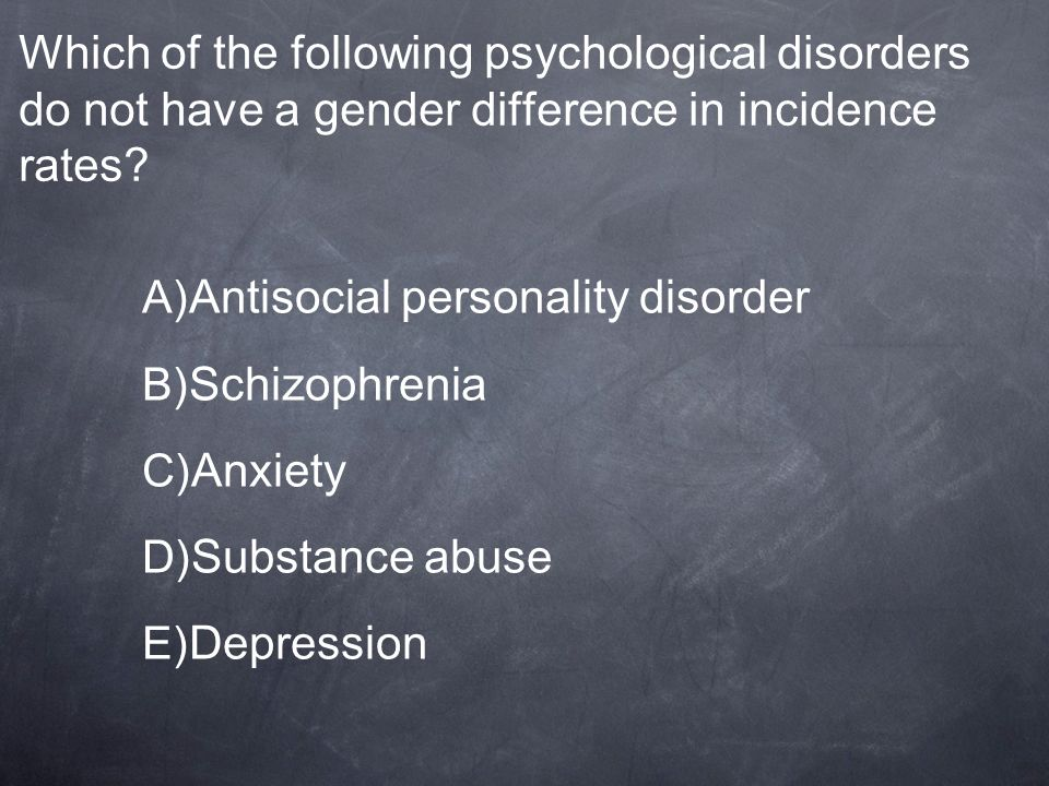 Which of the following psychological disorders do not have a gender difference in incidence rates