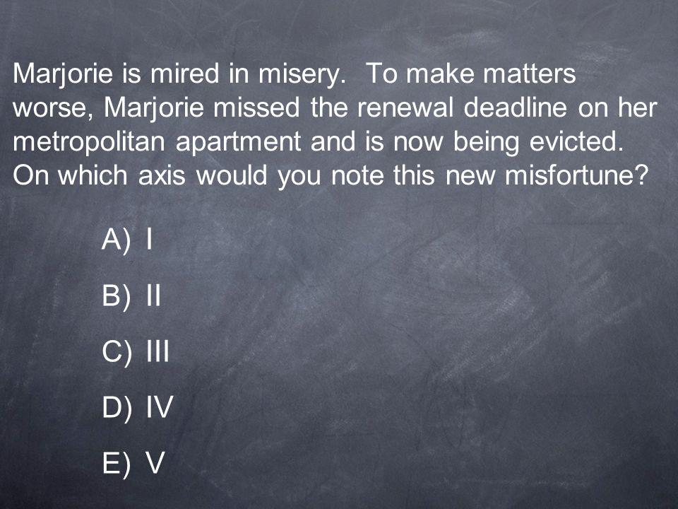 Marjorie is mired in misery
