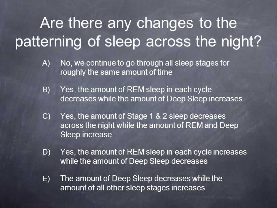 Are there any changes to the patterning of sleep across the night