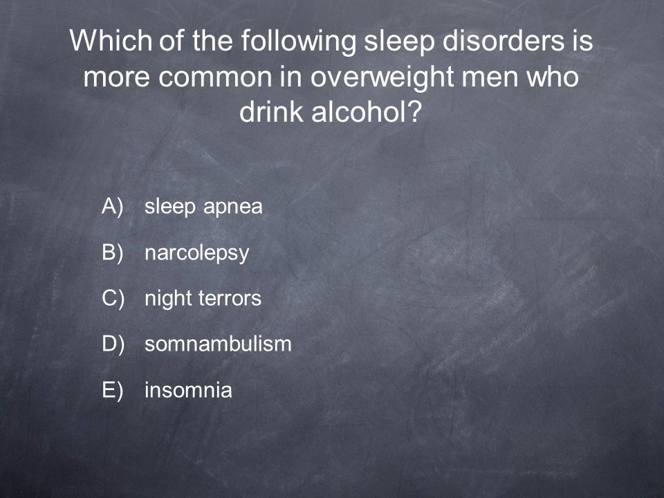 Which of the following sleep disorders is more common in overweight men who drink alcohol