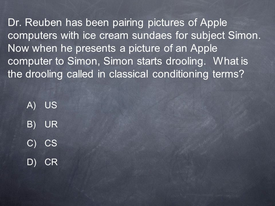 Dr. Reuben has been pairing pictures of Apple computers with ice cream sundaes for subject Simon. Now when he presents a picture of an Apple computer to Simon, Simon starts drooling. What is the drooling called in classical conditioning terms
