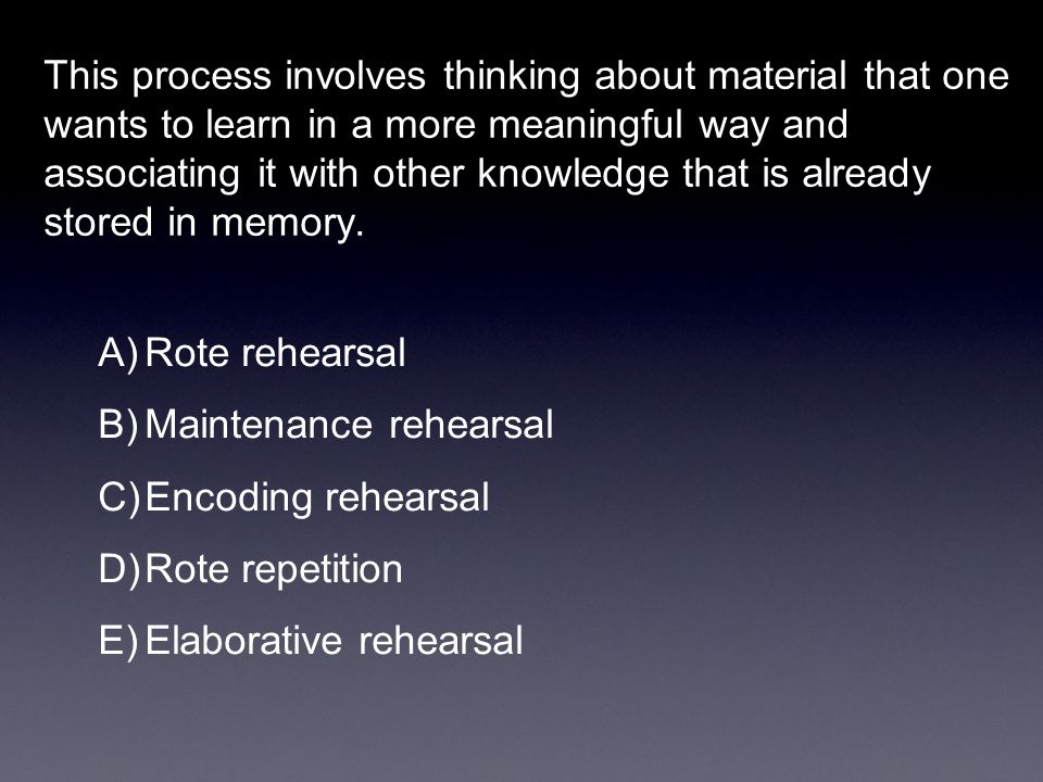 This process involves thinking about material that one wants to learn in a more meaningful way and associating it with other knowledge that is already stored in memory.