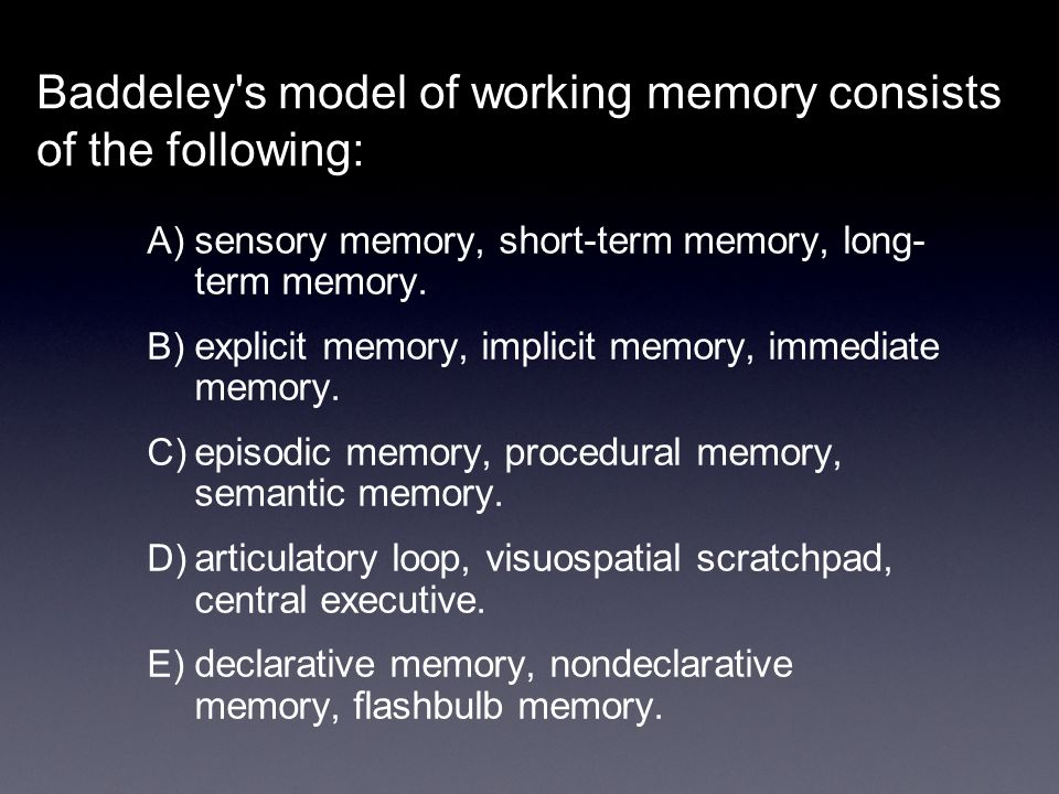 Baddeley s model of working memory consists of the following: