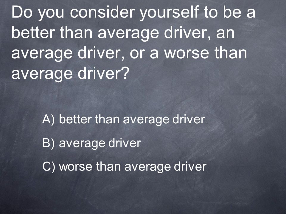 Do you consider yourself to be a better than average driver, an average driver, or a worse than average driver