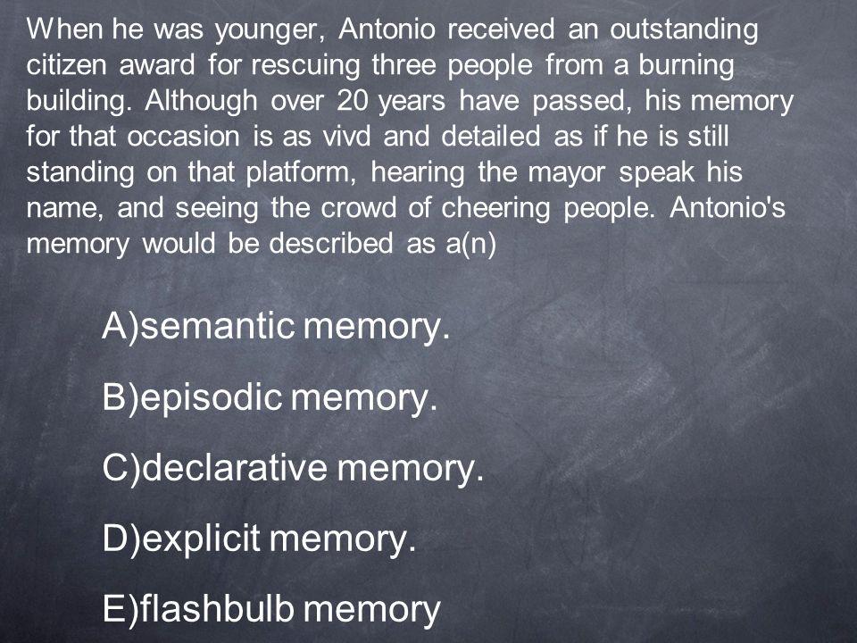 semantic memory. episodic memory. declarative memory. explicit memory.