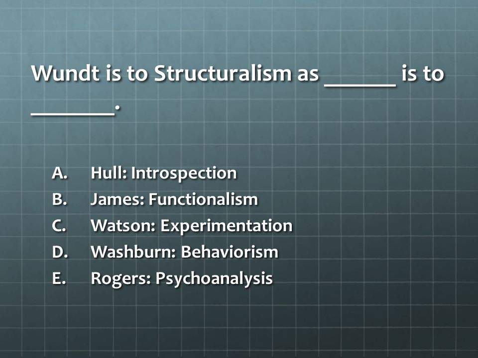 Wundt is to Structuralism as ______ is to _______.