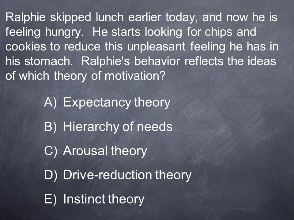 Drive-reduction theory Instinct theory
