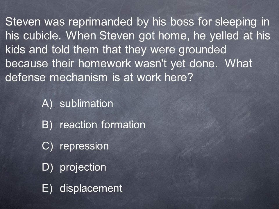Steven was reprimanded by his boss for sleeping in his cubicle