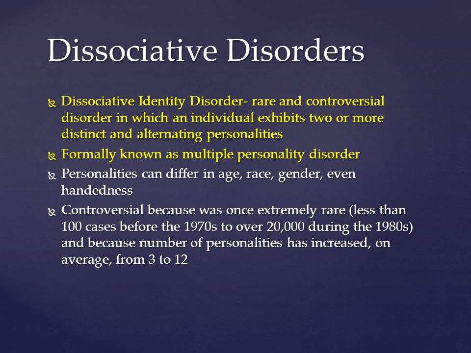 the increase in the number of cases of multiple personaliy disorder Facing a rising tide of personality disorders are counselors seeing the pervasive, persistent traits of true personality disorder, or are they applying outdated norms and expectations i would suspect a number of variables need to be explored.