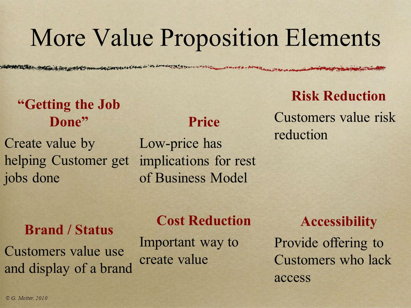 More Value Proposition Elements