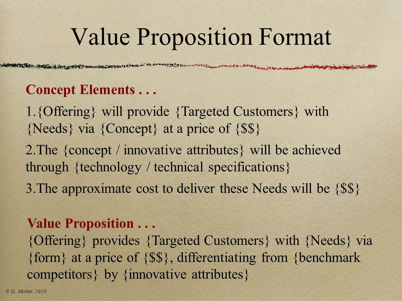 Value Proposition Format
