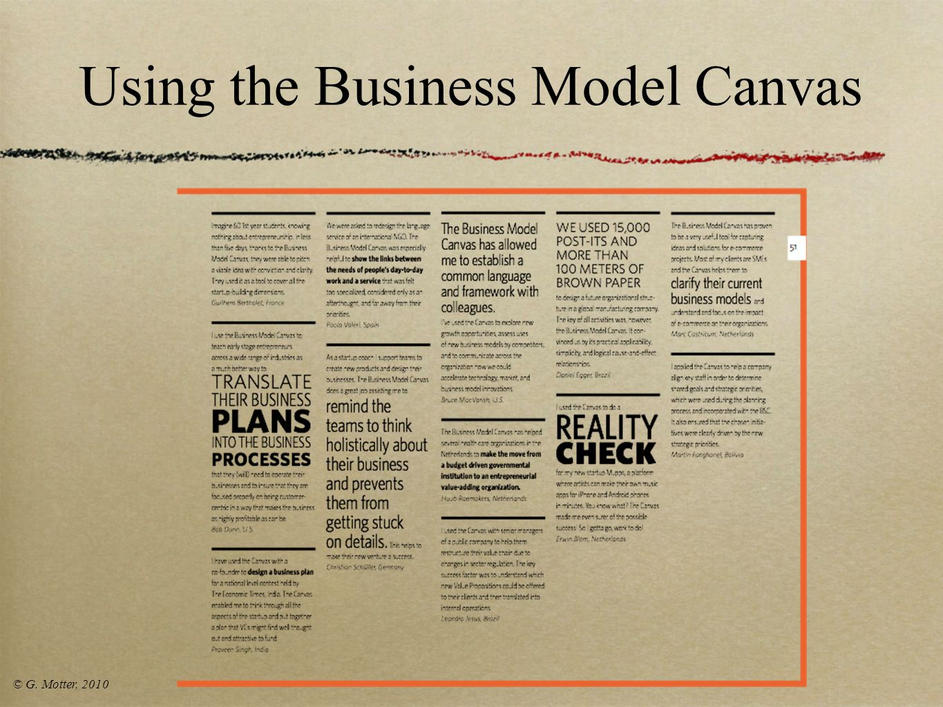 Using the Business Model Canvas