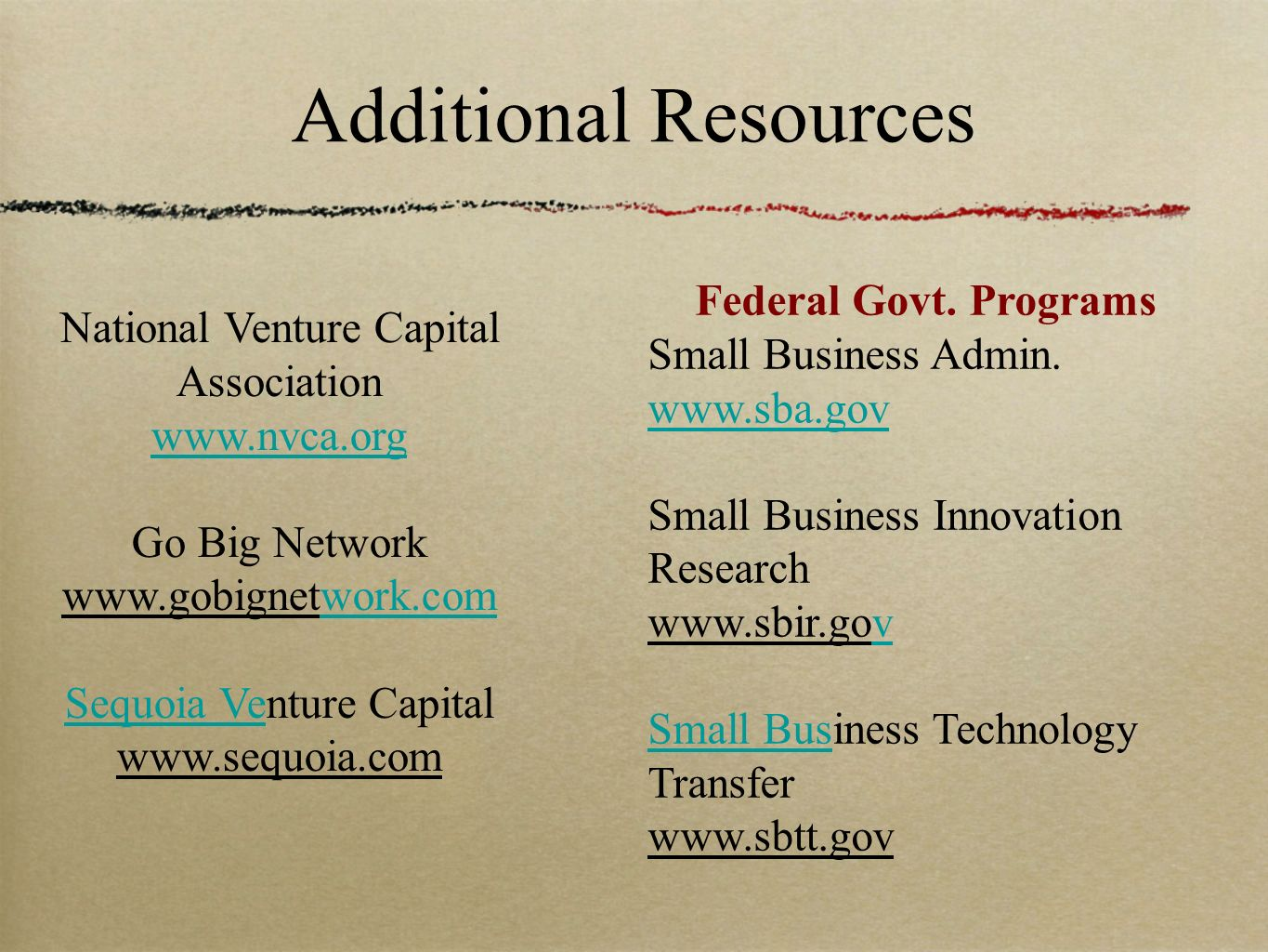 Additional Resources Federal Govt. Programs Small Business Admin.