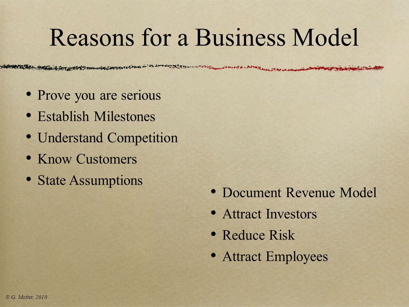 Reasons for a Business Model