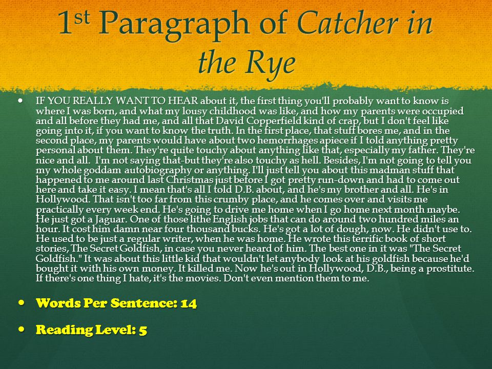 The Catcher in the Rye Multiple Choice Test Questions
