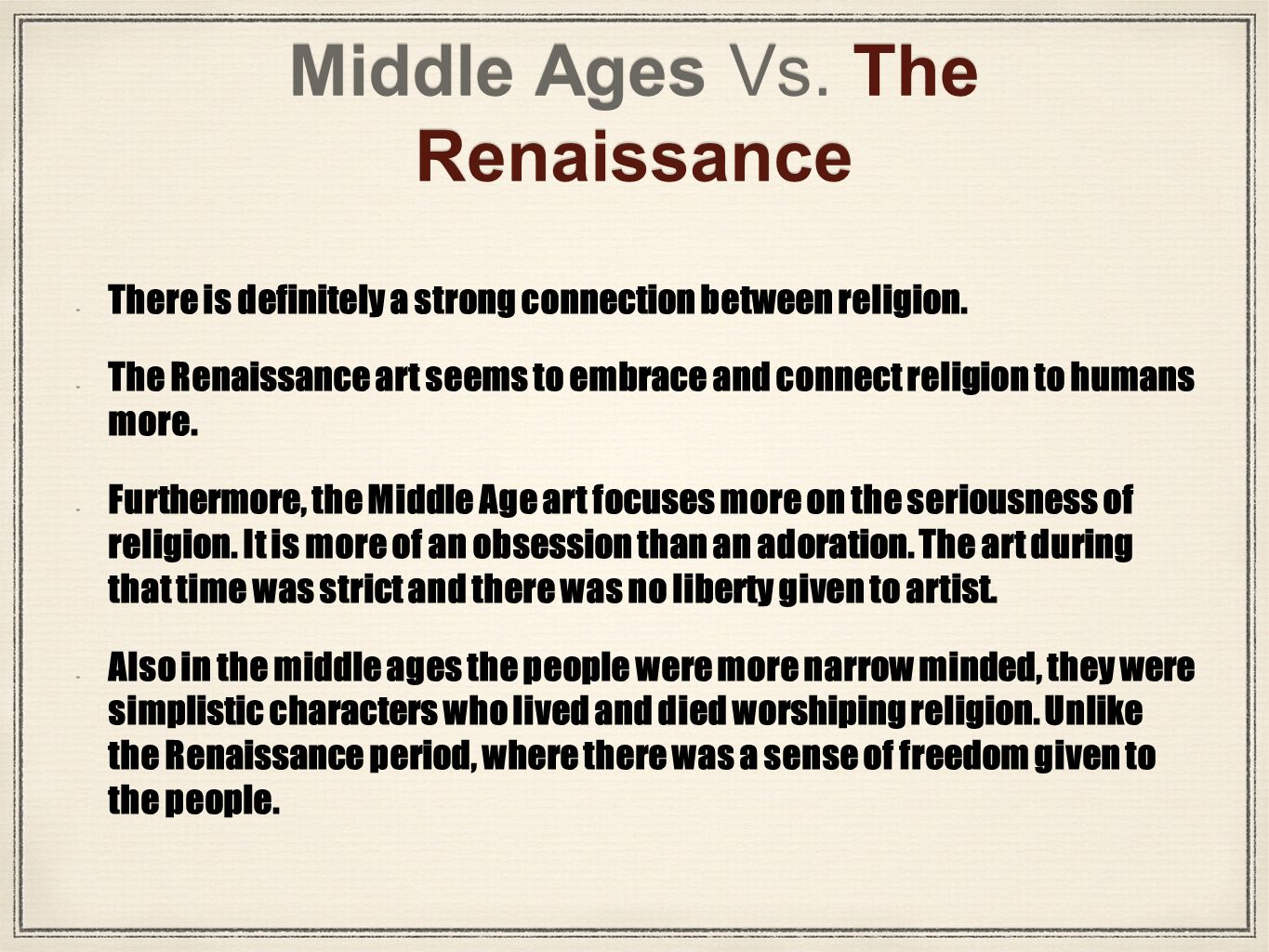 relationship between middle ages and renaissance art period