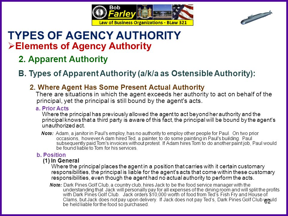 customary authority vs apparent authority Commentary on agency law, the third restatement draws from contract and  of  apparent authority, the limitation to customary authority in the doctrine of.