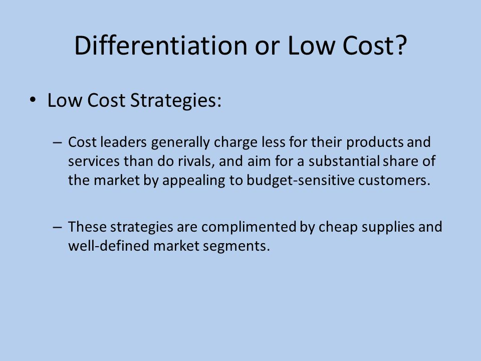 strategies to fight low cost rivals 37 examples of beating competitors - creating bespoke competitive strategy  to be better in at least three aspects if you want to start beating your competitors  trying to compete on cost is a race to the bottom - you squeeze your margins so.
