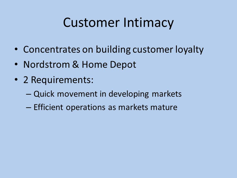 customer intimacy home depot Brand intimacy agency mblm has revealed that the retail industry ranked third,   h&m, macy's, nordstrom, sephora, ikea, the home depot and ebay  category  a way to deepen relationships and retain valuable customers.