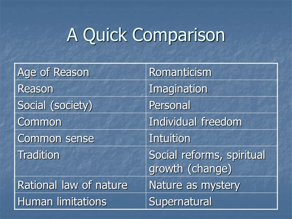 Enlightenment Vs Romanticism