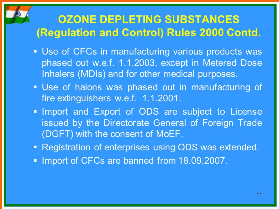 OZONE DEPLETING SUBSTANCES (Regulation and Control) Rules 2000 Contd.