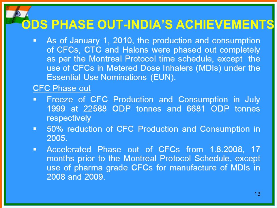 ODS PHASE OUT-INDIA'S ACHIEVEMENTS