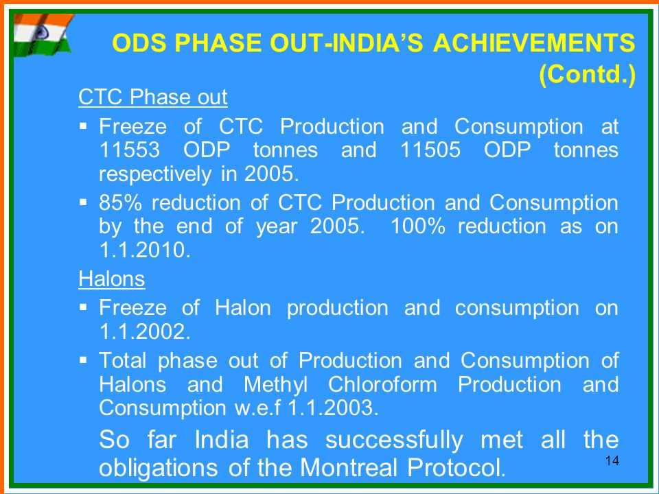 ODS PHASE OUT-INDIA'S ACHIEVEMENTS (Contd.)