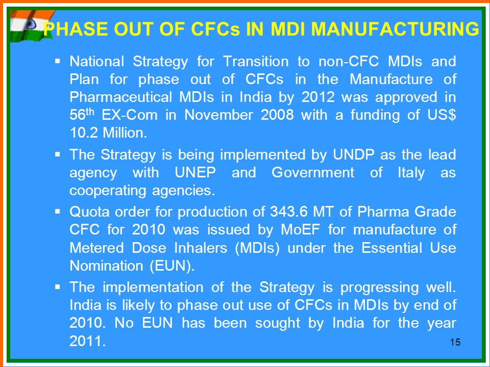 PHASE OUT OF CFCs IN MDI MANUFACTURING