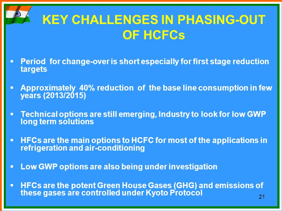 KEY CHALLENGES IN PHASING-OUT OF HCFCs