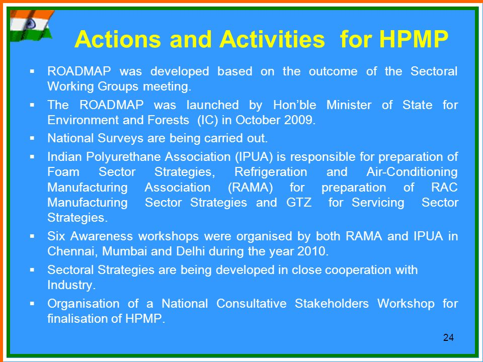 Actions and Activities for HPMP