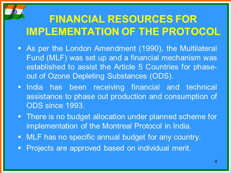 FINANCIAL RESOURCES FOR IMPLEMENTATION OF THE PROTOCOL